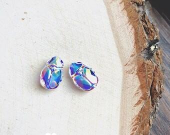 Pair of Crystal Rainbow Scarab beads - DIY JEWELRY