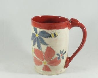 Large unique coffee mugs, Handmade ceramic teacup , ceramic coffee cup or tea mug, pottery mug, save the bees, pottery and ceramics 883
