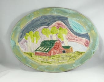 Large Platter, Ceramic Plate, Red Barn Dish , Oval Pottery Tray, Pottery and Ceramics, 9th Anniversary Gift, Kitchen Serving Plate