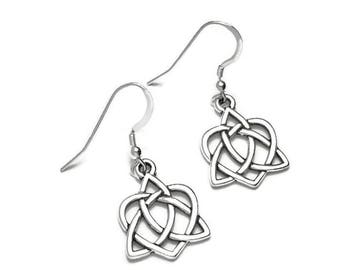 Celtic Trinity Knot Heart Dangle Earrings Fine Silver Plated Pewter Sterling Silver Earwires  Boxed