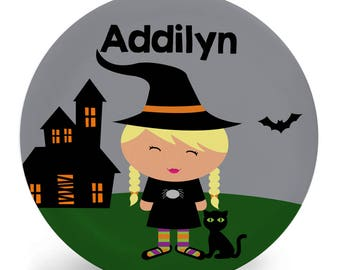 Personalized Halloween Plate for Kids - Cute Witch - Child's Bowl, Plate, Placemat, Mug Set (Plastic) - Custom Made with Child's Name