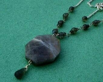 Labradorite Necklace Sterling Silver, Gemstone Wirework