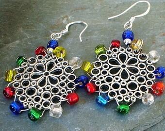 Snowflake Earrings Sterling Silver Honeycomb Christmas Multicolor Earrings