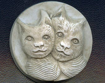 Faux Marble Polymer Clay 2 Cats  Cab Un drilled ANCT 1