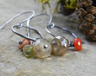 gorgeous rings of warm fall tone gems - dangle earrings - oxidized silver