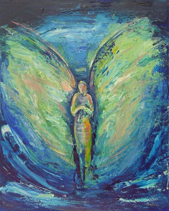 Angel Solemn Prayer Vision of Angels Print of an Original Painting by artist BenWill