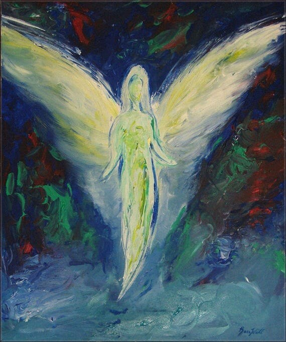 Angel Compassion's Arrival Vision of Angels Print of an Original Painting by artist BenWill