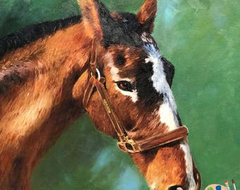 Custom Horse Oil Portrait  - Equine Portrait - Horse Painting from Your Photo - Portraits by NC