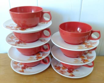 7 vintage maple leaf melmac cups and saucers Durawear