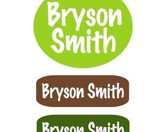 Personalized Labels for Kids | Natural Woods Colors Personalized Clothing Labels for Kids| Stick On Clothing Label | Name Tags for  Clothing