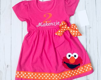 ELMO dress....BIRTHDAY elmo party dress-- personalized ( your childs name) Sesame street inspired