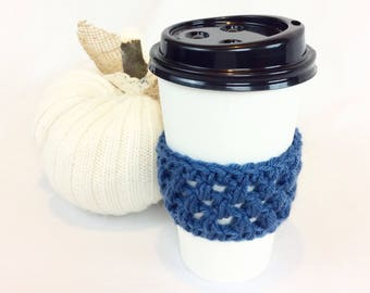 Crochet Coffee Cozy, Coffee Sleeve, Tea Cozy, Starbucks Reusable Coffee Sleeve, Blueberry Blue