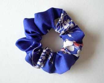 Blue Scrunchie, Vintage Kimono Silk Fabric Scrunchy, Japanese Hair Accessory, Hair Tie