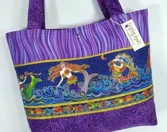 Purple Sea Spirits Mermaid Fish Ocean purse tote bag Laurel Burch fabric