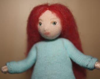 Little Felt Friend doll in pale blue cotton knit dress