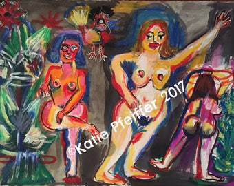 Original Painting  Harridans of The Mainline Nude Painting Outsider Art by Katie Pfeiffer
