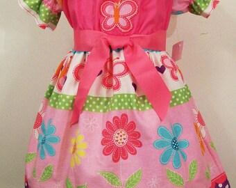 Girls Dresses, Pink Peasant Dresses with Appliques, Baby Toddler Big Girls Dress, Girls  Boutique Dress, Handmade, USA Made, #230