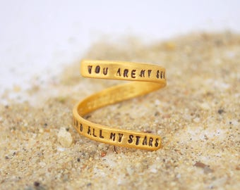 "Quote Ring ""You are My Sun My Moon and All My Stars"" by EE Cummings. Sterling silver or gold vermeil. Handcrafted by Chocolate and Steel"
