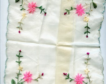 RESERVED for Lynne Green and Pink Vintage SILK Floral Handkerchief Hanky Antique Hankie 3968 RESERVED