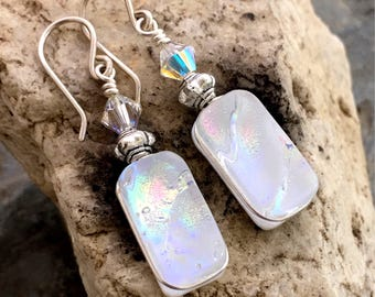 Dichroic Earrings 'White Opal' Glass Wire-Wrapped with Sterling Hooks