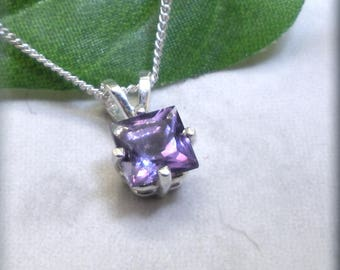 Princess Cut Amethyst Necklace, 925 Sterling Silver, February Birthstone Necklace, Gemstone Jewelry, Amethyst Pendant, Square (SN1052)