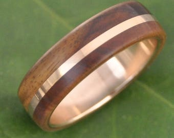 Yellow Gold Solsticio Guayacan Wood Ring - ecofriendly 14k recycled yellow gold and wood wedding band, gold and wood wedding ring