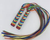 Rainbow Braided Ribbon Barrettes - 1980s Style Hair Accessories for Girls and Women