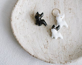 Ceramic puppy brooch with ring, Ceramic brooch Porcelain brooch Puppy brooch Animal brooch Pet brooch 14K gold-filled ring - boohua