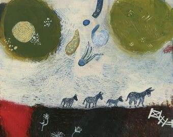Original Painting of Old Donkey Leads Herd Under Stars