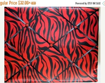 Eclipse Sale Lipstick Red Zebra Memory Board, Red Zebra French Memo Board, Zebra Fabric Ribbon Pin Board, Red Fabric Memo Bulletin Board, Be