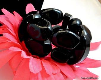 Chunky Black Bead Cuff Bracelet Vintage Large Black Bead Bracelet Large Cuff Bracelet Stretch Bracelet Costume Jewelry