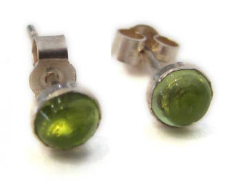 Round Peridot cabochon stud earrings in sterling silver - minimalist earrings with green gemstones