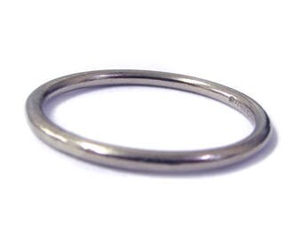 Simple 18K 18ct white gold band, halo ring, everyday ring