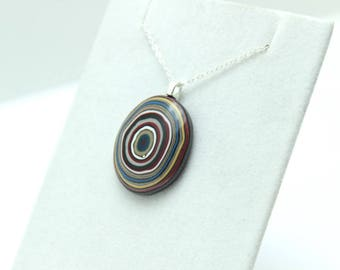 Detroit Fordite Necklace Recycled Vintage Auto Paint Red Green White Swirls Faux Bois Small Petite Bullseye Sterling Upcycled Oval Blue Hot