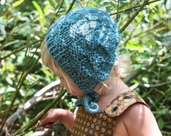 Teal Blue Knit Bonnet for Baby Girls, Handmade Baby Bonnet, Winter Bonnet, Knit Baby Hat