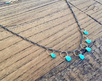 Sleeping Beauty turquoise necklace on oxidized sterling silver chain.