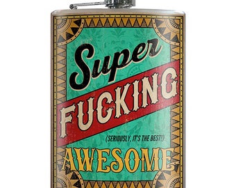 Super Fucking Awesome - Vintage Teal Funny Quote 8oz Stainless Steel Flask - comes in a GIFT BOX -  by Trixie & Milo