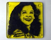 Gilda Radner Fused Glass Coaster, Comedian Coasters, Icon Coasters