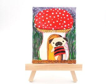 Woodland Creature Art Gift, Pug Dog Lover Art Gift, Red Mushroom, New Homeowner Gift, Pug Decor Gift, Dog Lover Gifts For Men and For Women