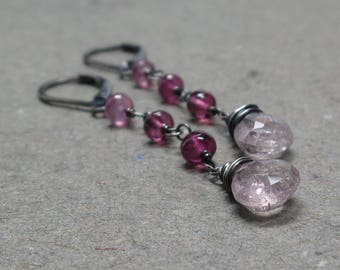 Pink Tourmaline Earrings Long Oxidized Sterling Silver Lever Back Gift for Her