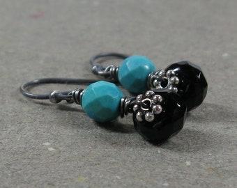 Turquoise Earrings Black Onyx Gemstone Drop Oxidized Sterling Silver