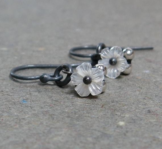 Tiny Flower Earrings White Shell Mother of Pearl Earrings Petite Minimalist Oxidized Sterling Silver Earrings