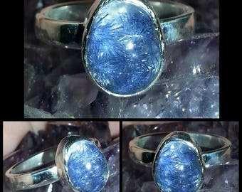 RARE ONE of a KIND blue dumortierite crystal sprays in quartz, sterling silver ring size 9