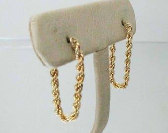 14k Gold Rope Earrings