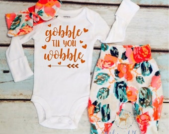 Gobble, Little sister, Layette, newborn girl, Baby shower gift, gift for her, coming home outfit, girl clothes, preggers, Thanksgiving