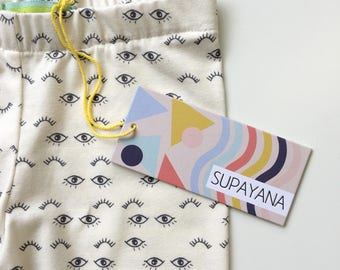 eye print organic cotton jersey leggings Supayana unisex baby leggings