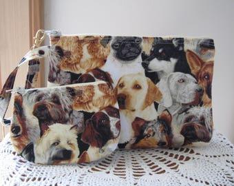 Dogs Puppies Smart phone Case Gadget Pouch Clutch Wristlet Zipper Gadget Pouch Bag Made in USA Set