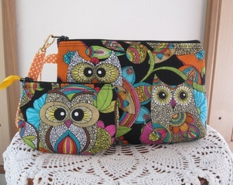 Smart phone Case Gadget Pouch Clutch Wristlet Zipper Gadget Pouch Bag Funky Owls Made in USA Set