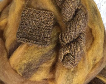Hot Buttered Rum - appx. 8 ounces - Wool and Mohair Roving