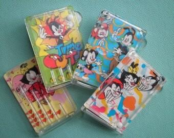 4 Lot of Vintage 1996 Animaniacs Cracker Jack Games - New Old Stock Mini Pocket Game - Retro Warner Bros. Cartoon Character Kid Toy Fun Gift
